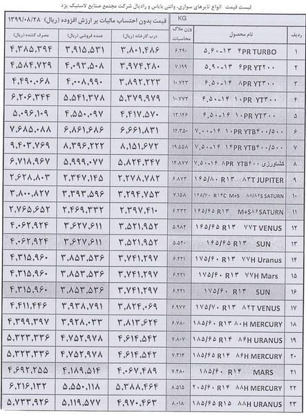 نرخ جدید و مصوب لاستیک های یزدتایر  آذر 99