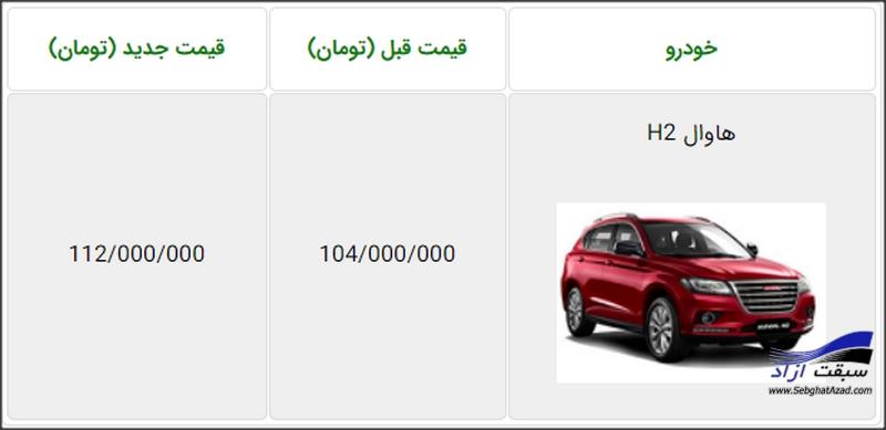 قیمت جدید هاوال  H2