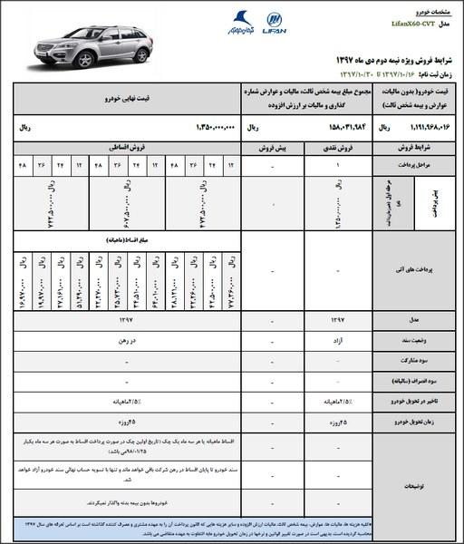 شرایط فروش لیفان X60 ویژه نیمه دوم دی ماه