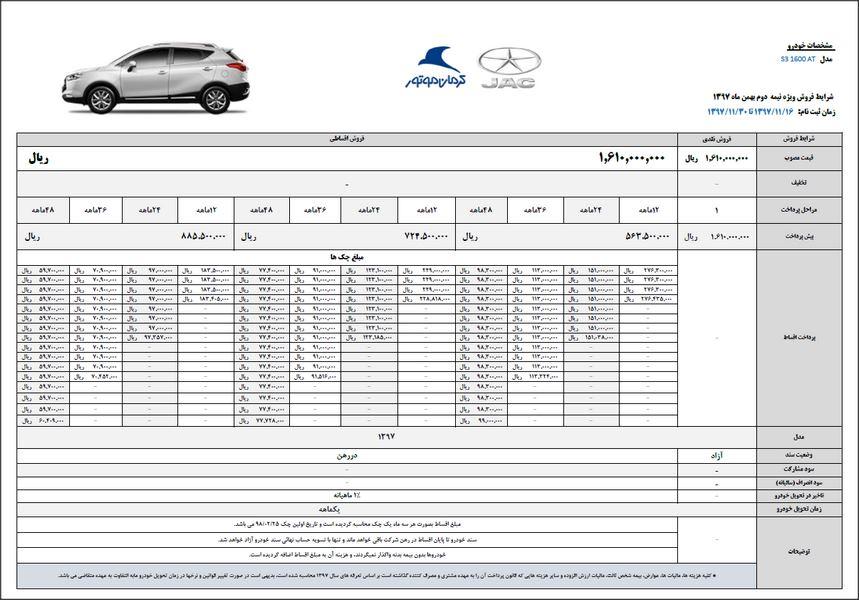 شرایط فروش جدید جک S3 ویژه نیمه دوم بهمن ماه