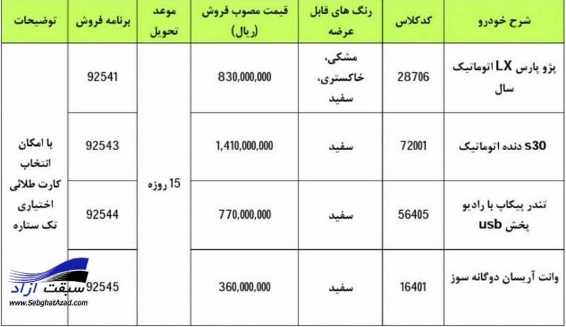 فروش فوری برخی محصولات ایران خودرو با قیمت های جدید