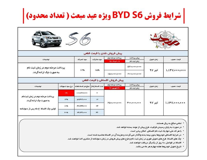 شرایط جدید فروش BYD S6 ویژه عید مبعث