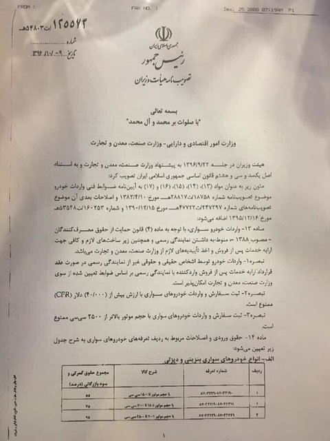 دستور العمل واردات خودرو